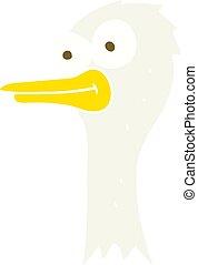 Ilustración de color plano de una cabeza de avestruz de dibujos animados
