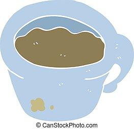 Ilustración de color plano de una taza de café de dibujos animados