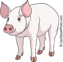 Ilustración de color vector de un cerdo.