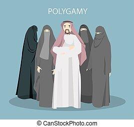 Ilustración de concepto de poligamia.