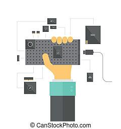 Ilustración de concepto de smartphone modular