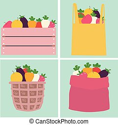 Ilustración de contenedores de frutas