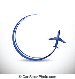 Ilustración de destino del avión