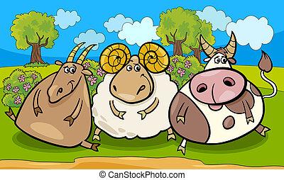 Ilustración de dibujos animados de animales de granja