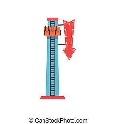 Ilustración de dibujos animados de caída libre o torre de descenso. Atracción extrema. El icono del parque de diversiones. Funfair o carnaval. Diseño vectorial plano para carteles de publicidad, pancarta o volante