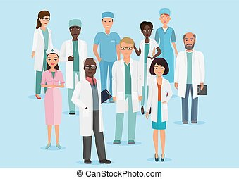 Ilustración de dibujos animados de médicos y enfermeras.