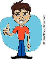 Ilustración de dibujos animados de un hombre feliz