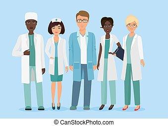 Ilustración de dibujos animados del equipo médico, médicos y enfermeras. Un concepto médico.