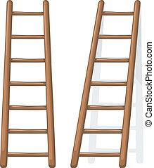 Ilustración de dibujos animados del vector de una escalera de madera