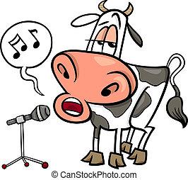 Ilustración de dibujos de vacas cantando