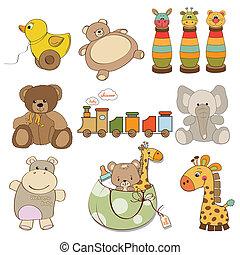 Ilustración de diferentes juguetes