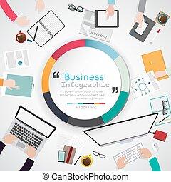 Ilustración de diseño plano de oficinas creativas con información de negocios.