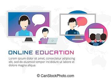 Ilustración de educación en línea. Webinar, escuela