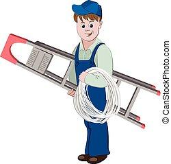 Ilustración de electricista o de cable con una escalera y un cable