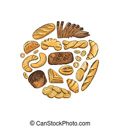Ilustración de elementos de la panadería