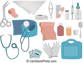Ilustración de equipos de primeros auxilios