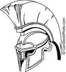 Ilustración de Espartano romano troyano o casco gladiador