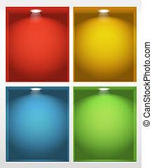 Ilustración de estantes vacíos iluminados