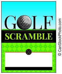 Ilustración de folletos de torneos de golf