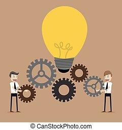 Ilustración de hombre de negocios con engranajes, trabajo en equipo,