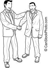 Ilustración de hombres de negocios estrechando la mano