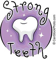 Ilustración de iconos dientes fuertes