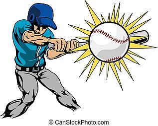 Ilustración de jugador de béisbol bateando béisbol