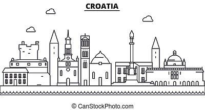 Ilustración de línea de arquitectura croata. Vector lineal Cityscape con puntos de referencia famosos, vistas de la ciudad, iconos de diseño. Landscape wtih derrames editables