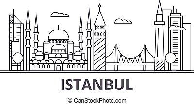 Ilustración de línea de arquitectura de Estambul. Vector lineal Cityscape con puntos de referencia famosos, vistas de la ciudad, iconos de diseño. Landscape wtih derrames editables