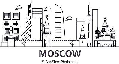Ilustración de línea de arquitectura de Moscú. Vector lineal Cityscape con puntos de referencia famosos, vistas de la ciudad, iconos de diseño. Landscape wtih derrames editables