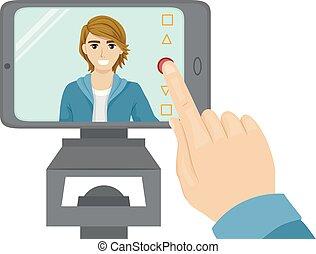 Ilustración de la audición de vídeo adolescente