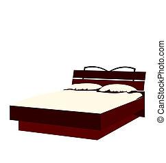 Ilustración de la cama aislada en el fondo blanco