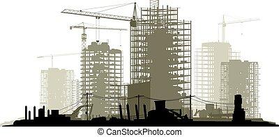 Ilustración de la construcción con grúa y edificio.