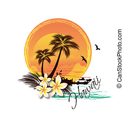 Ilustración de la isla tropical