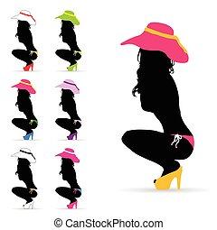 Ilustración de la moda femenina en color