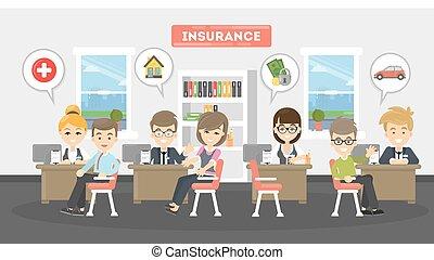 Ilustración de la oficina de seguros.