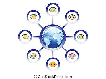 Ilustración de la red de amigos globales en vector