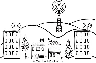 Ilustración de la señal inalámbrica de Internet en casas de la ciudad