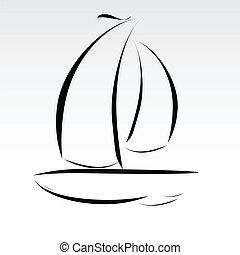 Ilustración de los barcos