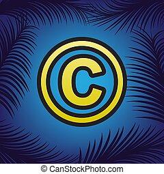Ilustración de los derechos de autor. Vector. Un icono dorado con un punto negro