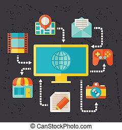 Ilustración de los medios sociales en diseño plano.
