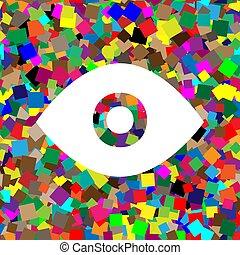 Ilustración de los ojos. Vector. Un icono blanco en un fondo colorido