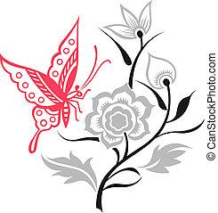 Ilustración de mariposas con flores