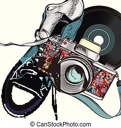Ilustración de moda con cámara y zapatillas de hipster.eps