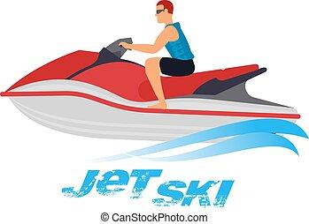 Ilustración de moto acuática