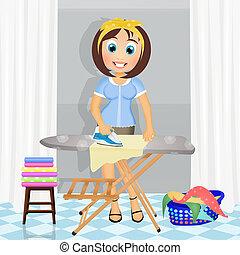 Ilustración de mujer planchando