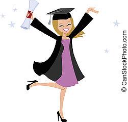 Ilustración de mujer rubia y graduada