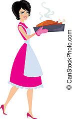 Ilustración de mujeres horneando