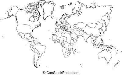 Ilustración de muy fino contorno del mundo (con ciudad rural