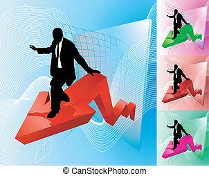 Ilustración de negocios de surfistas de ganancias